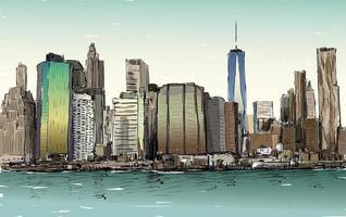 Croquis en couleur du paysage urbain de la ville de new york avec des gratte-ciel vecteur