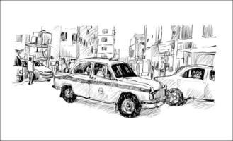 Esquisse d'un taxi dans un paysage urbain en Inde vecteur