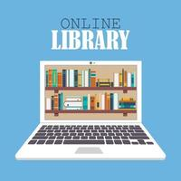 concept de bibliothèque et d'éducation en ligne vecteur