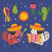 mexique petits chinchillas mignons et ensemble d'éléments