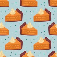 modèle sans couture d'éléments automne, texture. tarte à la citrouille sur fond bleu clair. gâteau, aliments sucrés, pâtisserie. vecteur