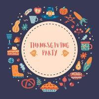 Thanksgiving bordure ronde dessinée à la main, cadre vecteur