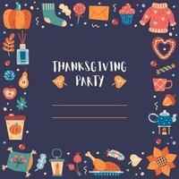 bordure carrée dessinée à la main de Thanksgiving, cadre vecteur