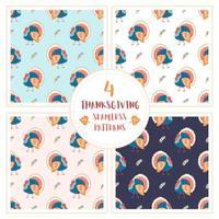 Thanksgiving turkey dessiné à la main ensemble de modèles sans soudure vecteur