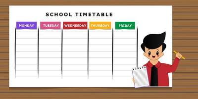 calendrier scolaire avec modèle de dessin animé garçon