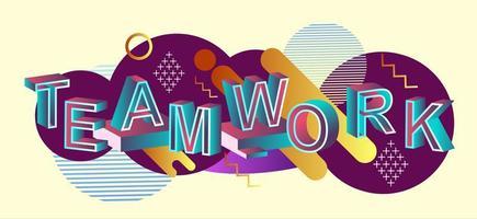 concept de typographie de travail d & # 39; équipe avec des éléments graphiques abstraits vecteur