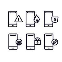 ensemble d & # 39; icônes de réparation de téléphone mince ligne