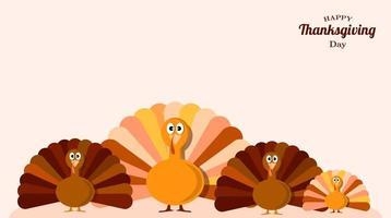 bannière de dindes amusantes pour le jour de Thanksgiving vecteur