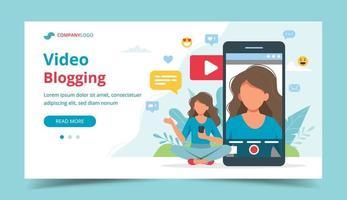 blogueuse vidéo féminine sur l'écran du smartphone