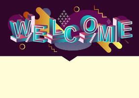 Bienvenue concept de typographie avec des éléments graphiques abstraits vecteur