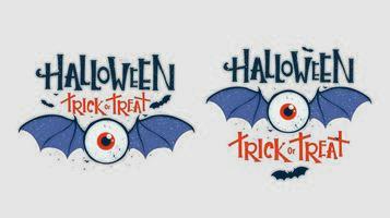 oeil avec des ailes de chauve-souris hallowen typographie ensemble