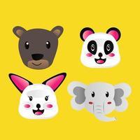 collection d'animaux de visage de dessin animé dessinés à la main