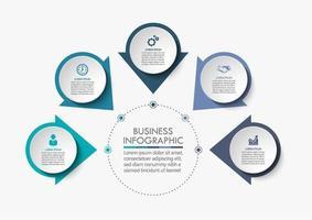 cercle de flèche infographie en 5 étapes