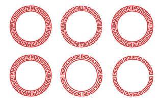 ensemble chinois de motif de cadre de cercle rouge vecteur