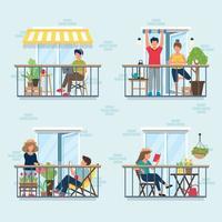 personnes sur balcon, concept d'isolement social