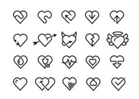 icônes de ligne de coeur