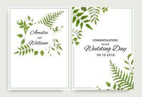 cartes de mariage avec des feuilles vertes et un cadre vecteur