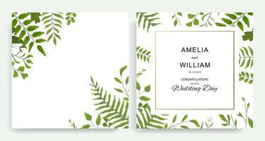 cartes d'invitation de mariage carré avec des feuilles vertes vecteur