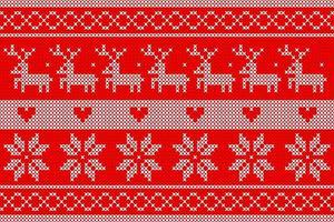 modèle de tricot de Noël avec des cerfs et des coeurs vecteur