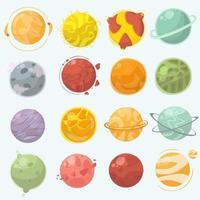 jeu de dessin animé de planètes vecteur
