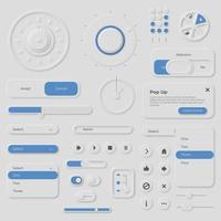 collection d'éléments de style neumorphique vecteur