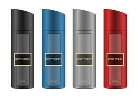 set de spray corporel coloré vecteur
