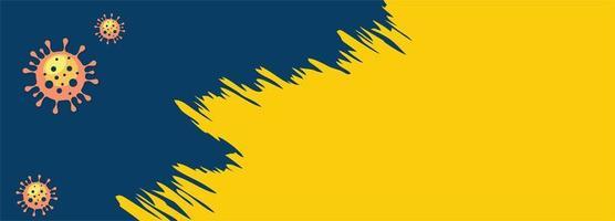 bannière de coup de pinceau de coronavirus en bleu et jaune