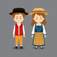 personnage de couple portant le costume national suisse