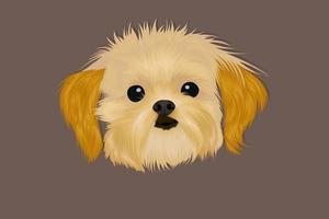 tête de chien dessin à la main réaliste avec une ombre