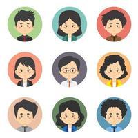 ensemble de 9 avatars commerciaux vecteur