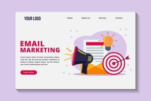 modèle de page de destination de concept de marketing par courrier électronique