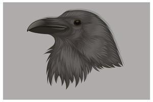 dessin à la main tête de corbeau noir vecteur