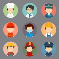 une grande variété de travailleurs masculins sans avatars d'expression vecteur