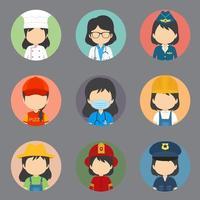 une grande variété de travailleuses sans avatars d'expression vecteur