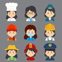 grande variété d'avatars de travailleuses vecteur