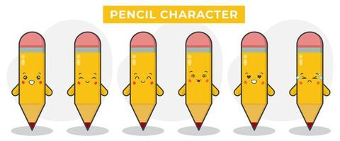 crayon de livre mignon avec diverses expressions