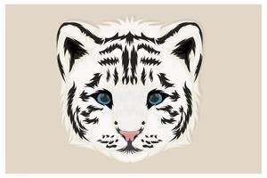 dessin à la main de tigre blanc avec un style réaliste vecteur