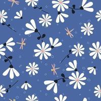 joli motif de fleurs et de libellule dessinés à la main vecteur
