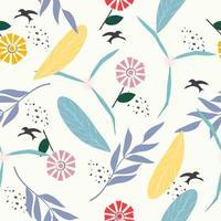 joli motif de fleurs et de feuilles pastel vecteur