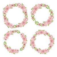 collection de couronnes florales aquarelle rose rose vecteur
