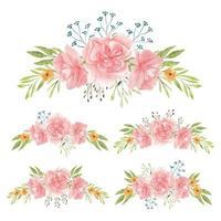 bouquets de fleurs d'oeillets peints à la main aquarelle