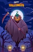 affiche joyeux halloween avec citrouille effrayante vecteur