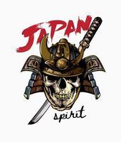slogan de l'esprit du Japon avec crâne dans un casque de samouraï