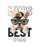 slogan du meilleur ami de l'homme avec un chien mignon dans des lunettes de soleil vecteur