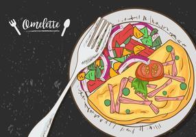 Omelette Aux Légumes Sur La Plaque vecteur