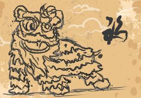 Lion Dancing Ink Illustration