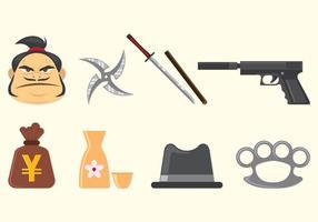 Ensemble d'icônes de Yakuza vecteur