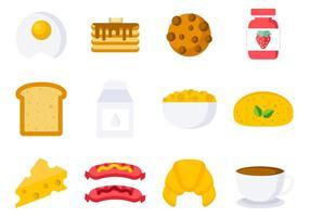 Vecteur d'icônes de petit-déjeuner gratuit