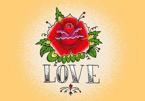 Amour tatouage rose vecteur