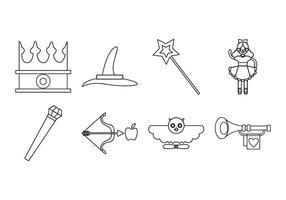 Vecteur libre d'icônes de conte de fées